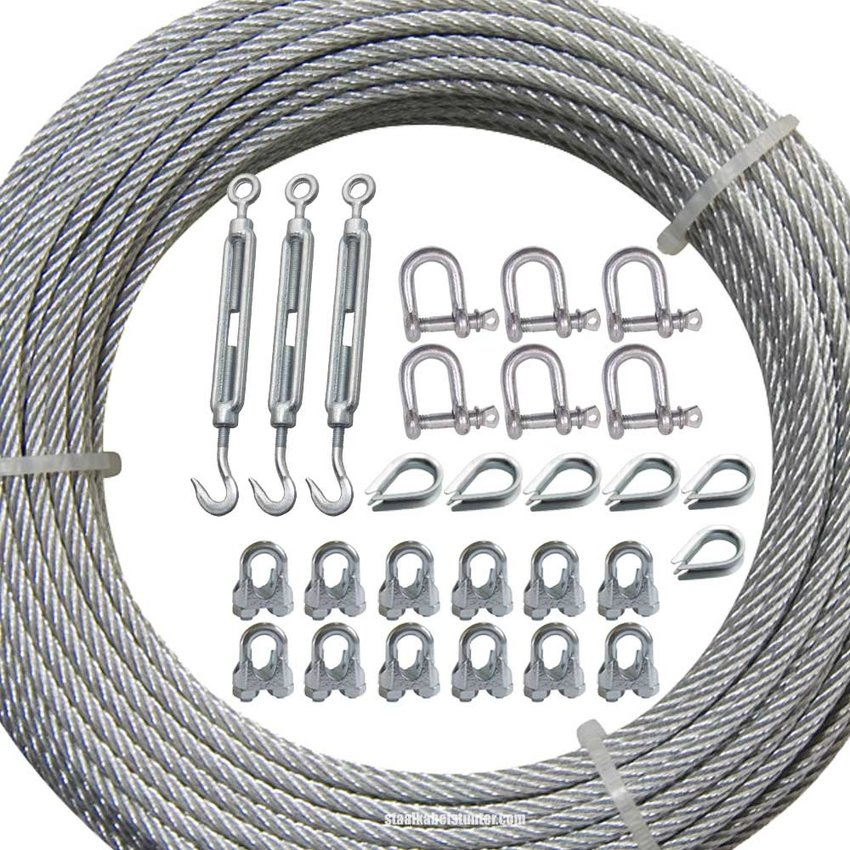 Universal guy wire kit 3mm Stainless Galvanised