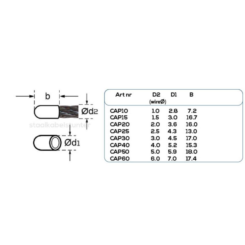 Staalkabel kunststof beschermkapje 1mm voordeelpack 50 stuks