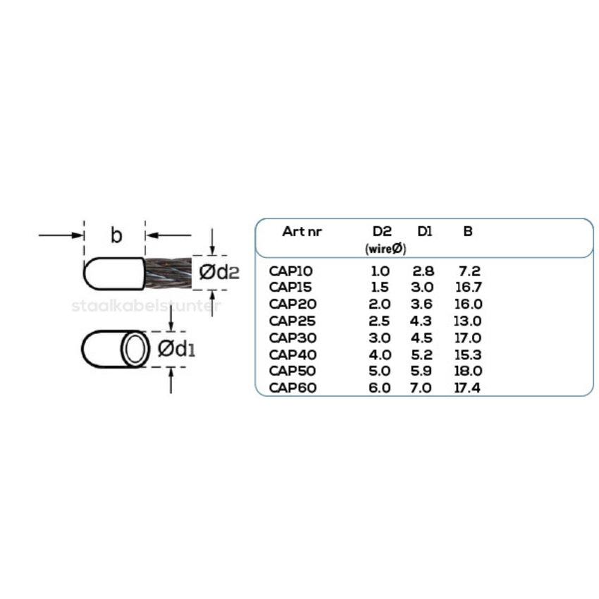 Staalkabel kunststof beschermkapje 1,5mm voordeelpack 50 stuks