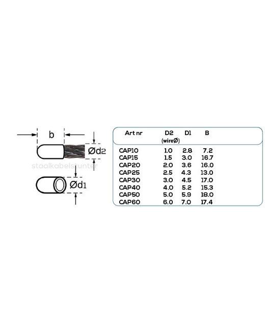Staalkabel kunststof beschermkapje 2,5mm voordeelpack 50 stuks