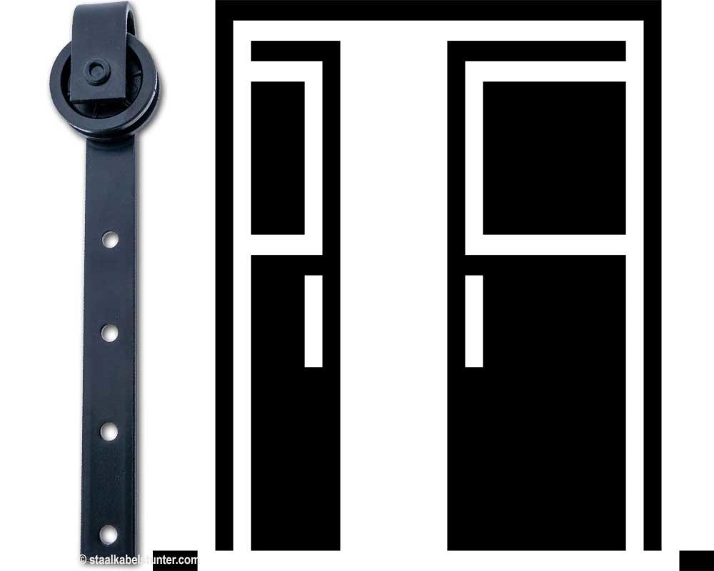 Hangrollen zwart voor schuifdeuren