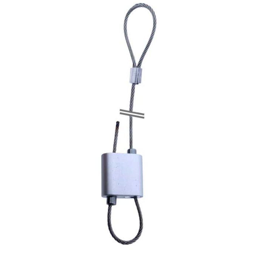 Steel cable suspension kit 21 with automatic wire clamp for quick adjustment.