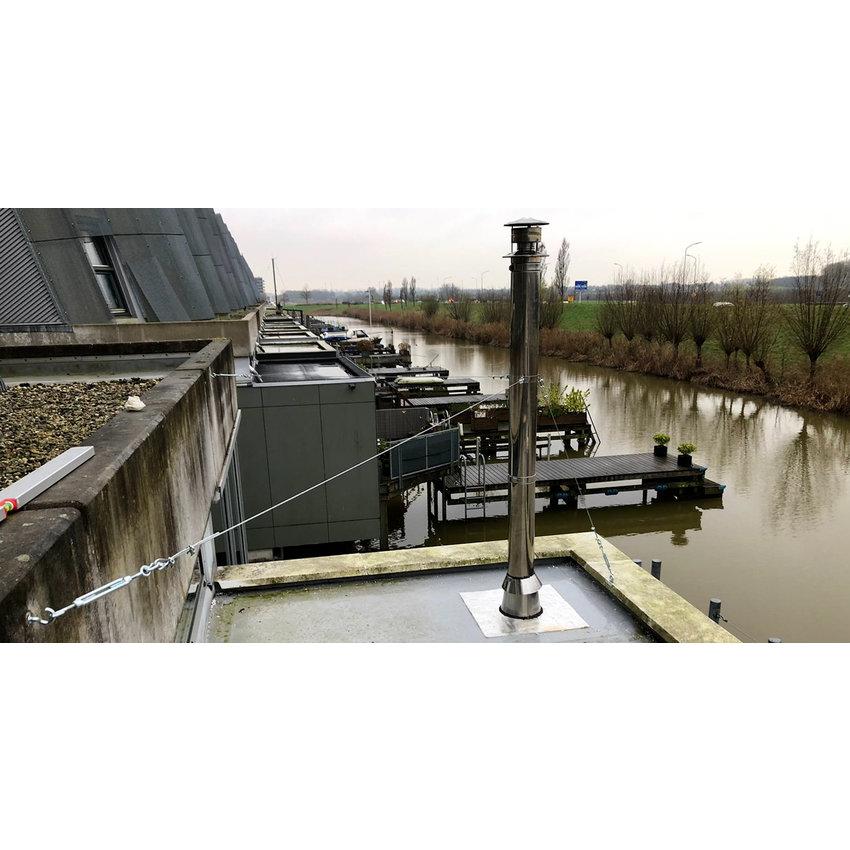 Zendmast of Rookkanaal afvoer tuien met staalkabel 3mm verzinkt - Scheerlijn