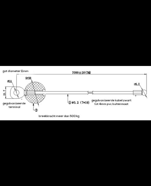 Fitness Staalkabel 4mm - 7 meter met Bal en Pen zwart