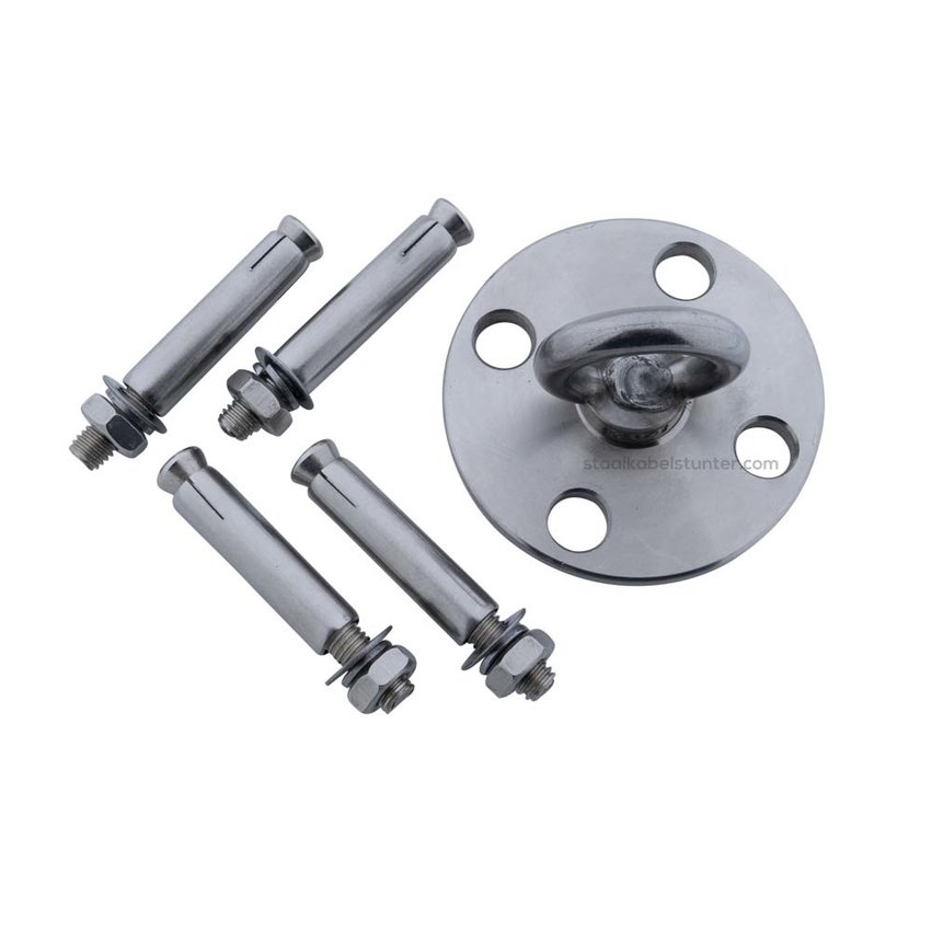 Stainless Eyeplates 40mm with Turnable  ring   - Heavy Duty