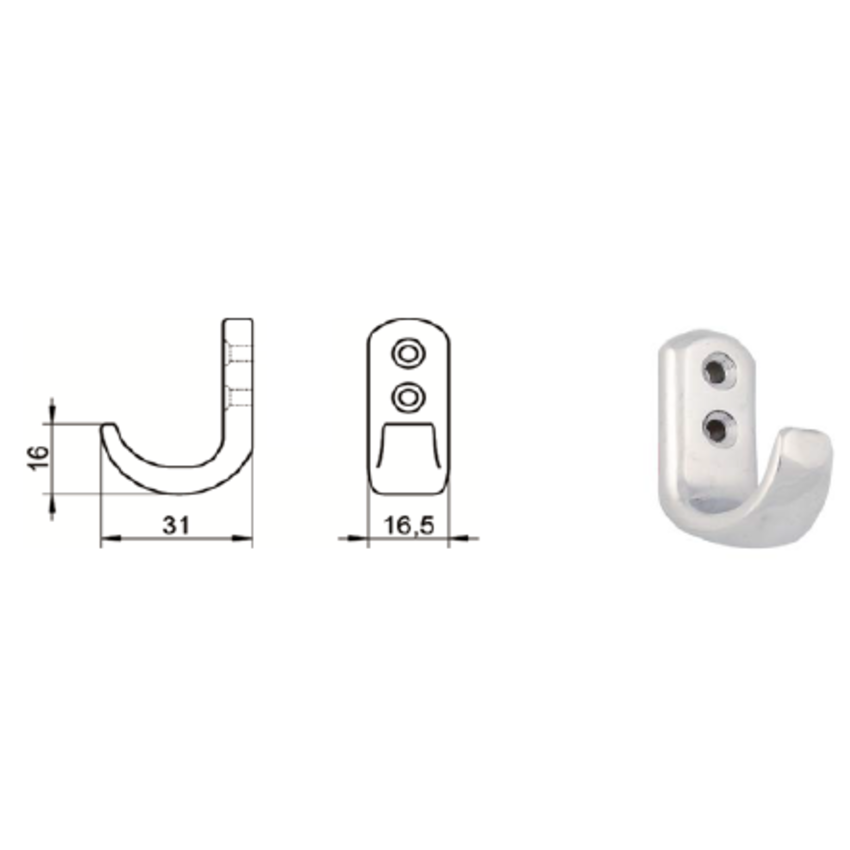 """Stainless Coat hooks  31x16mm  A2 quality - double hole """"Annelies"""""""