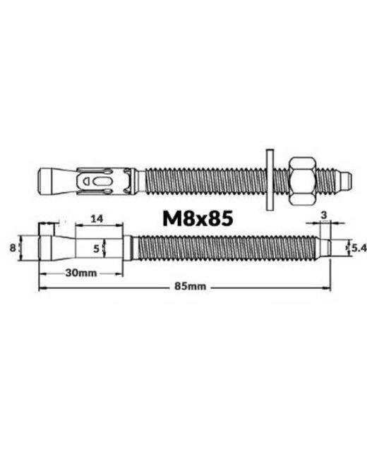 Rvs Keilbout M8 x 75  A2 kwaliteit