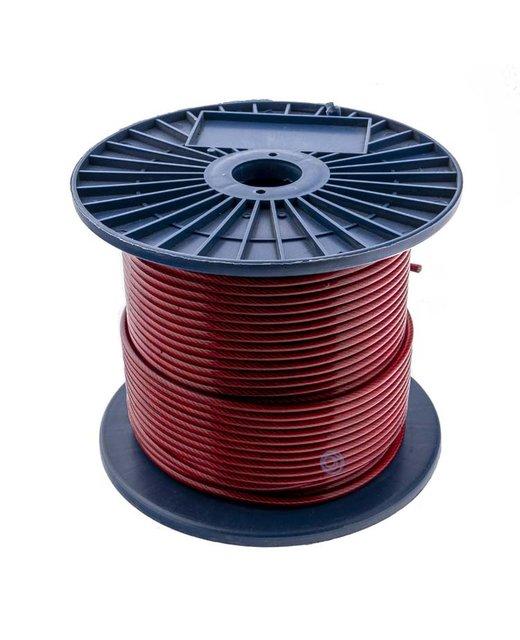 Staalkabels 3/5 mm pvc 100 meter rood  Transparant