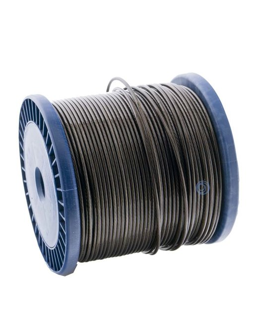 Wire Ropes 1.5/2.5 mm PVC 100 meter Black Smoke