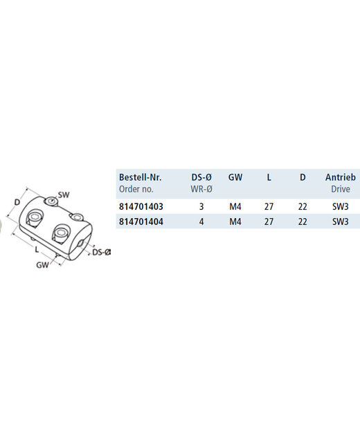 2-delige Klemring met inbusboutjes - AISI316/A4