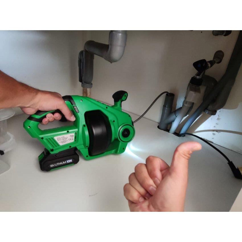 Ontstoppingsveer Accu incl lader en oplader 18 volt
