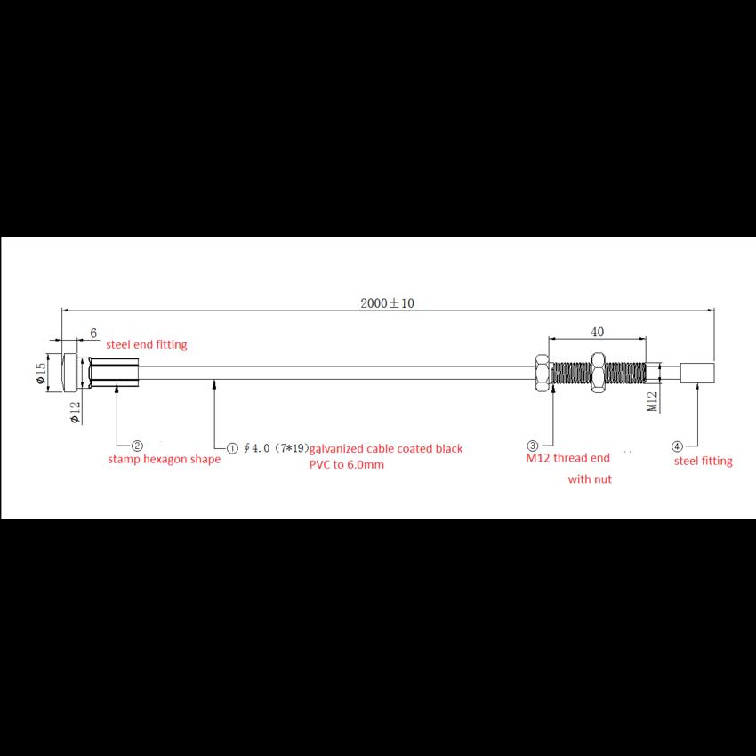 Fitness Staalkabel 6mm  met geperste eindstop en M12 schroefdraad