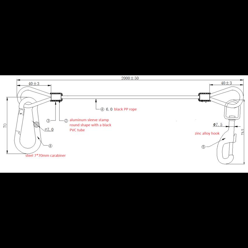 Fitness elastic 6mm - carabiner 7x70 and cliphook - pressed aluminium bushings