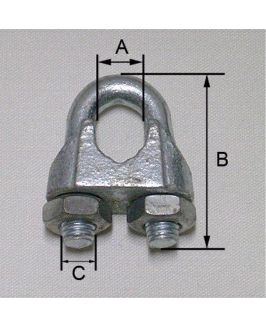 Staaldraadklem roestvaststaal 6mm met moeren