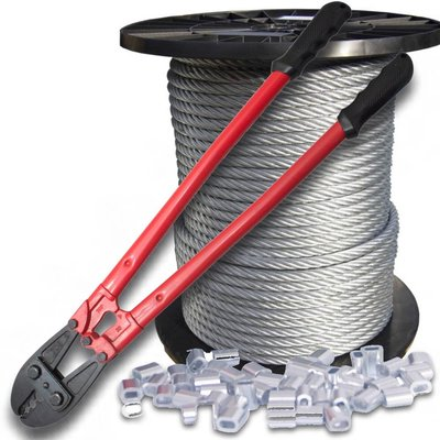 Wire Rope 6 mm 100 meter on coil with plier and clips