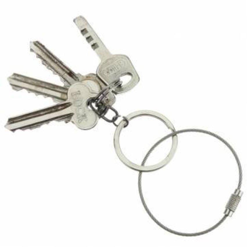 Steelwire 150 mm 'bracelet' steel wire key ring Red