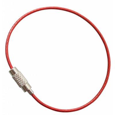 Stahldraht 150 mm 'Drahtseil mit Drehverschluß' Stahldraht Schlüsselringe Rot