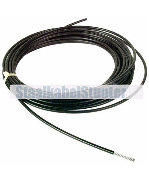 Fitness Staalkabel 6mm 100 meter zwart