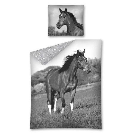 Paarden Dekbedovertrek Zwart Wit