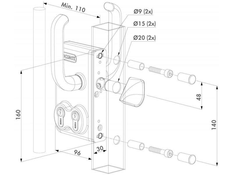Locinox LGKZ D1 | Dubbel cilinderslot Shuifpoortslot - rond profiel