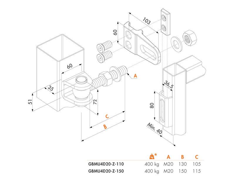 Locinox 4-Dimensionaal Regelbaar 180° Scharnier verpakt per 2 stuks
