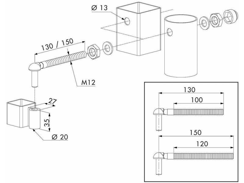 Locinox GAM12 | Scharnierset voor tuinpoorten