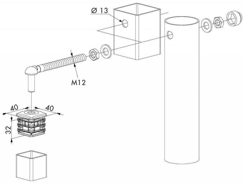Locinox GBM12-DP40 | Scharnierset voor tuinpoorten