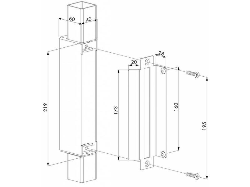 Locinox HWKB | Hybrid inlaskast en slotvanger voor H-METAL