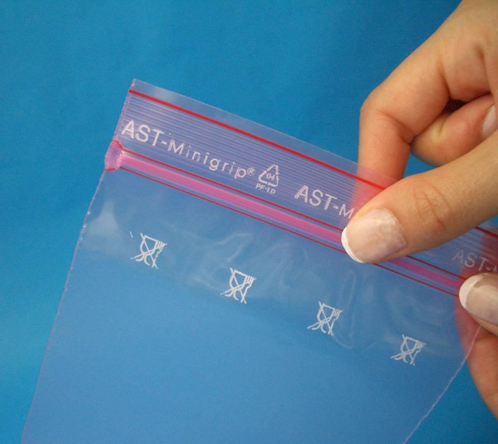 Antistatik Druckverschlußbeutel (minigrip) rosa-transparent 80 my stark