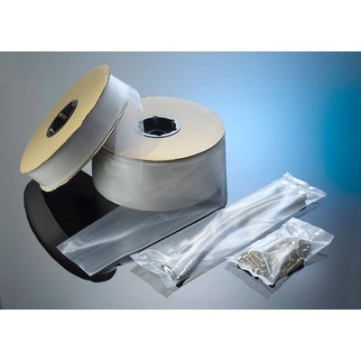 LDPE-Schlauchfolie, 500 mm Breite, 100 my Stärke, 125 lfm. je Rolle, transparent, unbedruckt