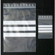 Druckverschlußbeutel, 80 x 120 mm, 50 my, transparent, unbedruckt, mit 3 weißen Schreibfeldern (1 VE = 1.000 St.)