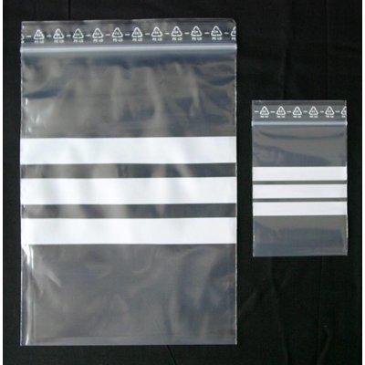 LDPE-Druckverschlußbeutel, Format: 100 x 150 mm (B x H bis zum Verschluß), 50 my Stärke, transparent, unbedruckt, mit 3 weißen Schreibfeldern