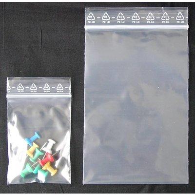 LDPE-Druckverschlußbeutel, Format: 70 x 100 mm (B x H bis zum Verschluß), 90 my Stärke (EXTRA STARK), transparent, unbedruckt
