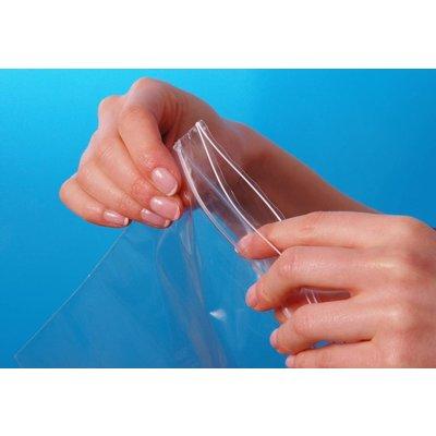 Hochglanz-Druckverschlußbeutel, Format: 100 x 150 mm (B x H bis zum Verschluß), 50 my Stärke, hochtransparent, unbedruckt, mit Rundloch