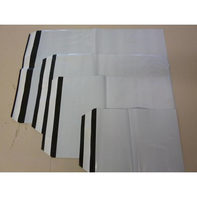 COEX-Adhäsionsverschlußbeutel, Format: 430 x 570 + 40 mm (B x H + Klappe), 75 my Stärke, außen weiß / innen schwarz, unbedruckt