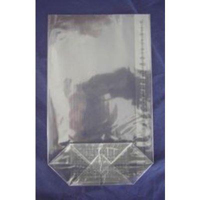 OPP-Kreuzbodenbeutel, Format: 85 x 145 mm (B x H), 30 my Stärke, hochtransparent, unbedruckt, mit Siegelnaht