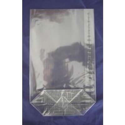 OPP-Kreuzbodenbeutel, Format: 120 x 225 mm (B x H), 30 my Stärke, hochtransparent, unbedruckt, mit Siegelnaht