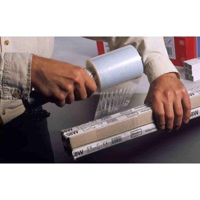 LDPE-Bündel-Stretchfolie, 100 mm Breite, 23 my Stärke, 150 lfd.m./Rolle, transparent, unbedruckt, inkl. 1 Handabroller, 40 Rollen im Karton