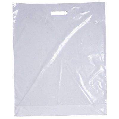 LDPE-Kunststoff-Tragetaschen, Format: 700 x 500 + 50 mm (B x H + Falte), 50 my Stärke, weiß eingefärbt, unbedruckt, mit Griffverstärkung - AUSVERKAUF