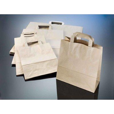 braune Papiertragetaschen, Format: 22 + 10 x 36 cm (B + Falte x H), 70 g/qm Stärke, unbedruckt, mit angeklebten Papierhenkeln und Abdeckblatt