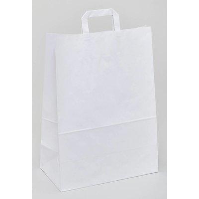 weiße Papiertragetaschen, Format: 22 + 10 x 28 cm (B + Falte x H), 70 g/qm Stärke, unbedruckt, mit angeklebten Papierhenkeln und Abdeckblatt