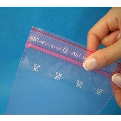 Antistatik-Druckverschlußbeutel, Format: 70 x 100 mm (B x H bis zum Verschluß), 80 my Stärke, rosa-transparent