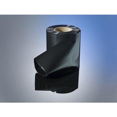 LDPE-Schlauchfolie, 100 mm Breite, 100 my Stärke, 250 lfm. je Rolle, schwarz-opak, unbedruckt - AUSVERKAUF