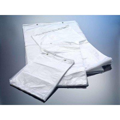 HDPE-Flachbeutel, milchig-transparent, Format: 400 x 570 + 30 mm (B x H + Block), 17 my Stärke, unbedruckt, geblockt zum Abreißen