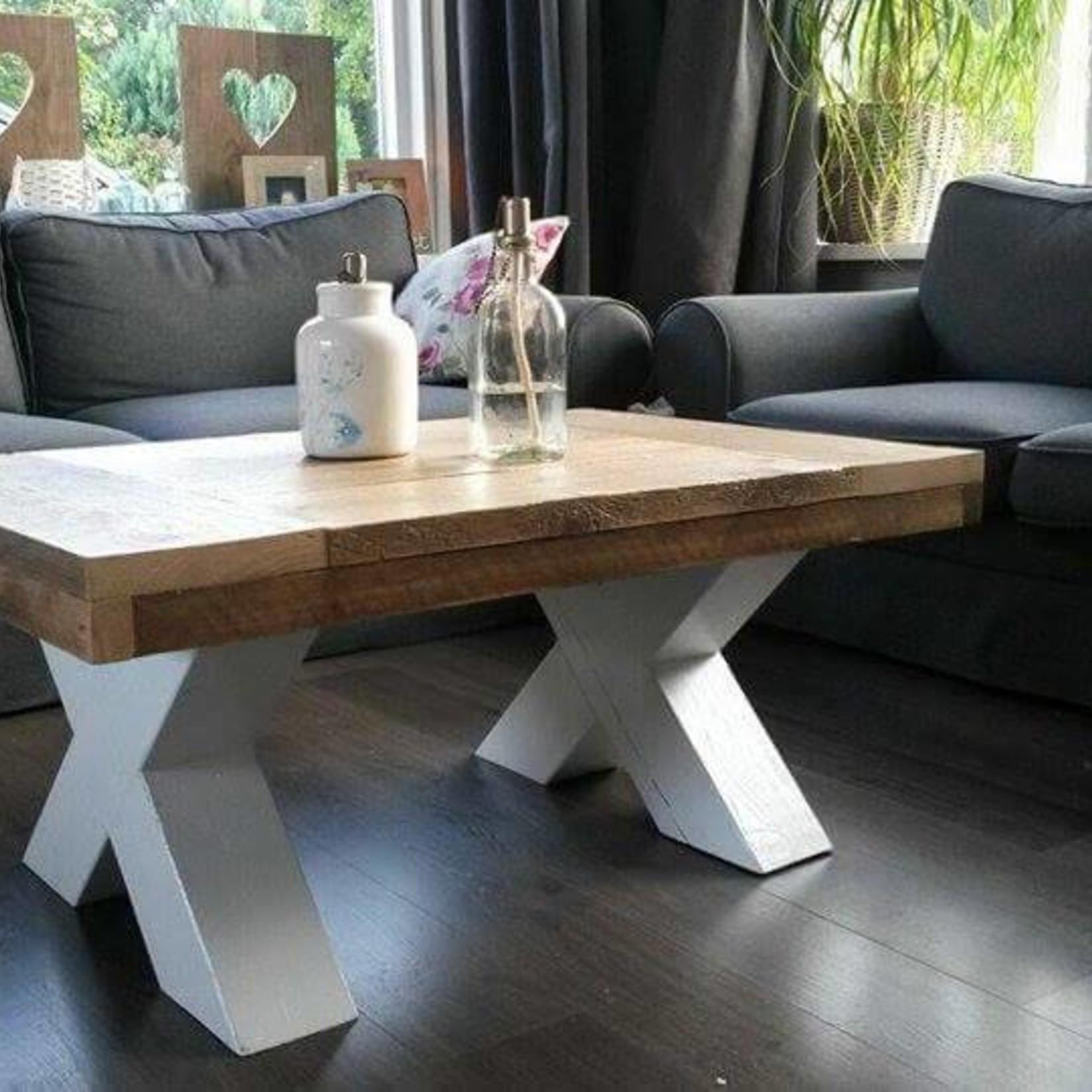 Houten X salontafel poten