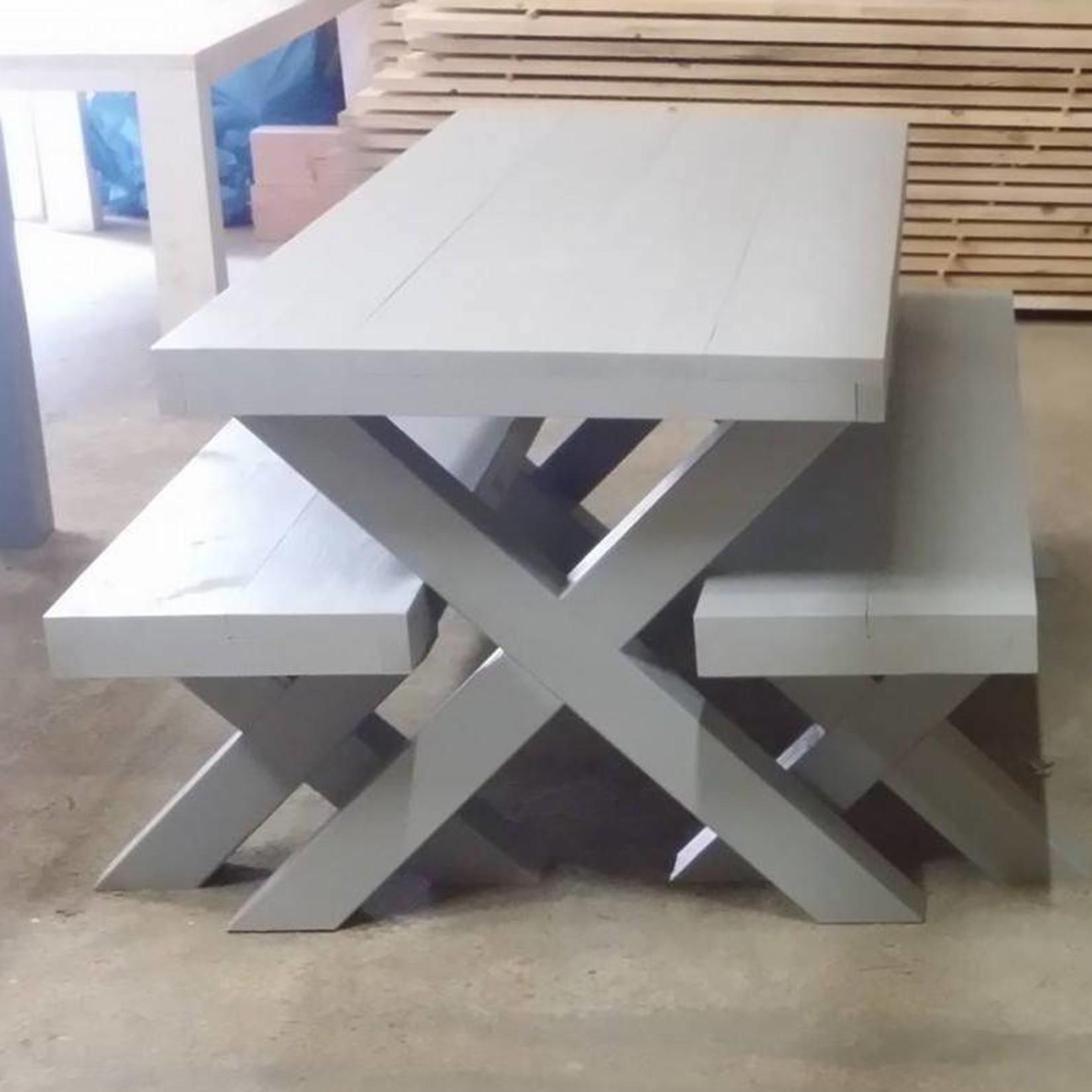 Bankje 40x45x60/300 zonder leuning, Houten X poten