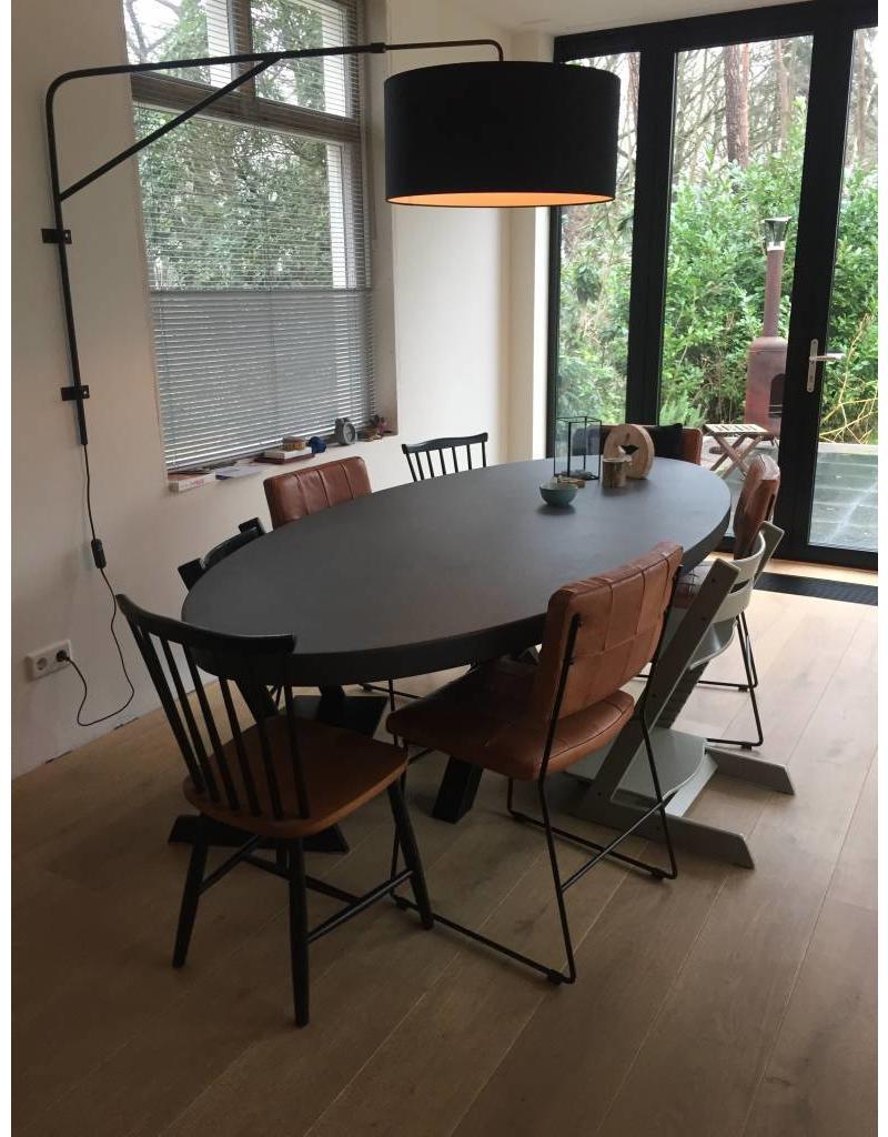Tafelblad Ovaal (max. 120x240 cm) - Boncreat Beton Ciré - 66 mm