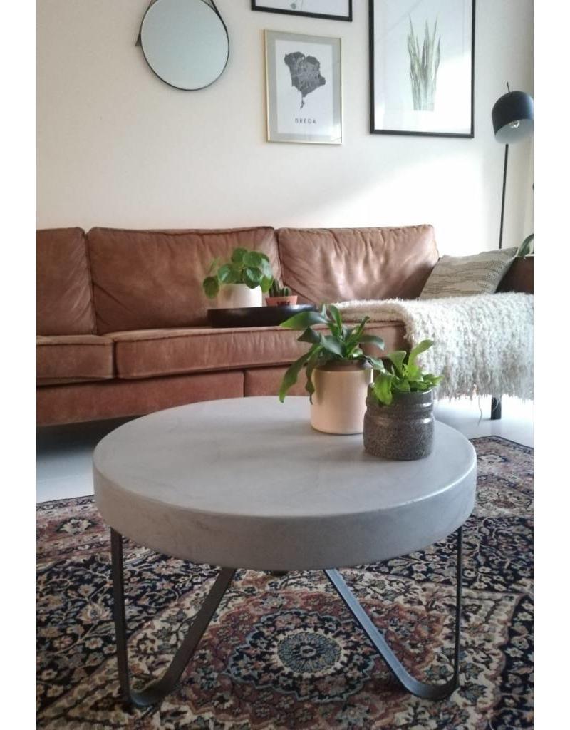 Salon/Eetkamer Tafelblad Rond (max. 150x150 cm) - Boncreat Beton Ciré - 66 mm