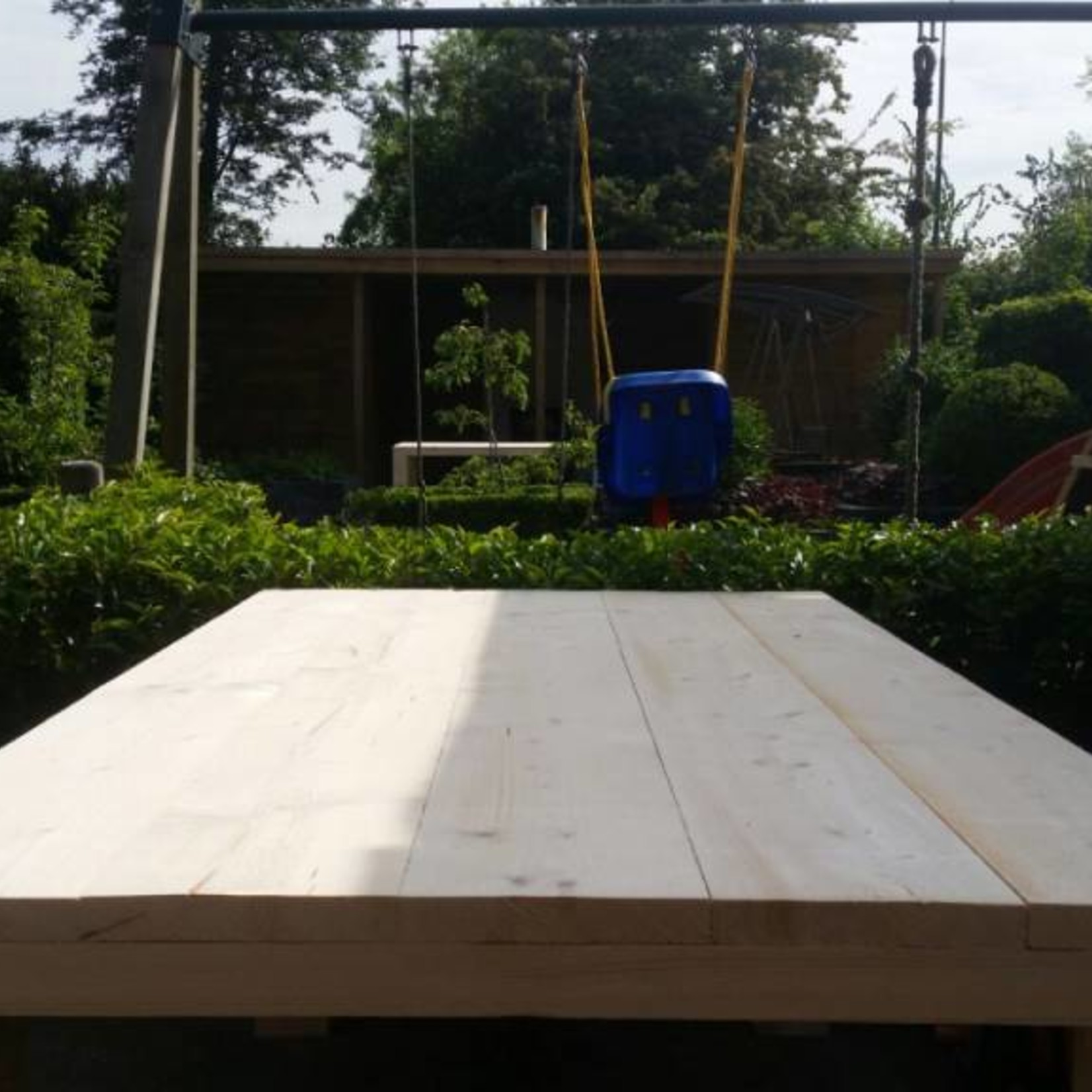 Tuintafel 90 cm breed tot 300 cm lang, Rechte poten - Steigerhout