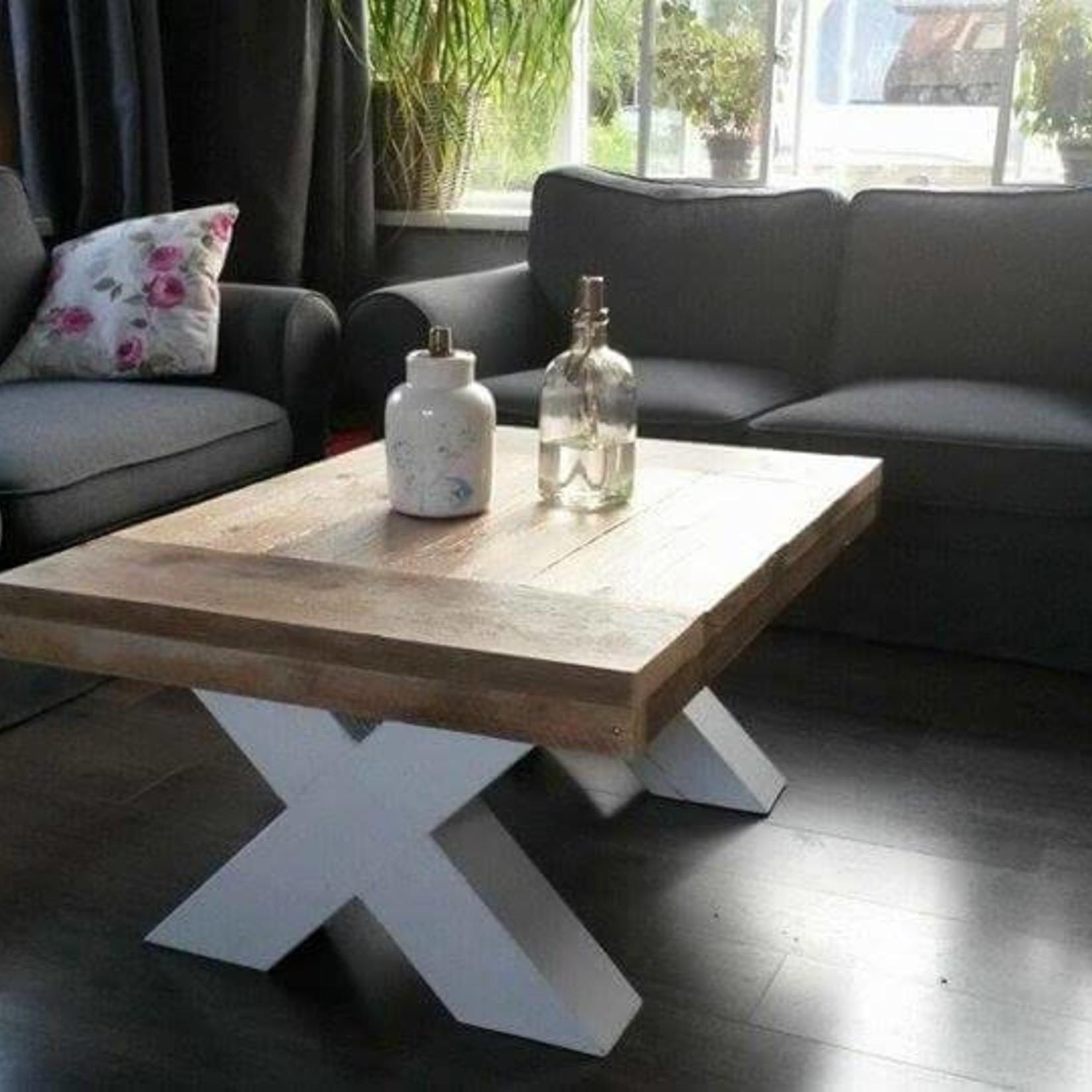 Salontafel 80 cm breed tot 150 cm lang, Houten X poten